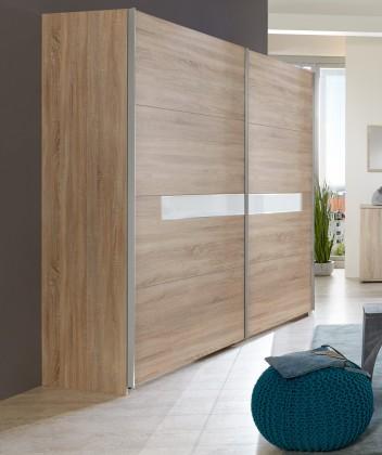Pamela - Šatní skříň 270x210, posuvné dveře (dub,sklo,chrom)