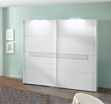 Pamela - Skříň, 2x posuvné dveře, 225 cm (alpská bílá/bílé sklo)