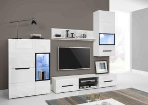 Pedro - Obývací stěna, 2x vitrína, police, RTV komoda (bílá)