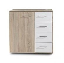 Petra - Komoda, 1x dveře, 4x šuplík (dub/alpská bílá)