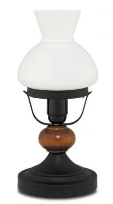 Petronel - Lampička, E27 (černý kov/hnědá dřevěná)