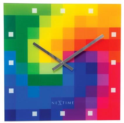 Pixtime - hodiny, nástěnné, hranaté (sklo, barevné)