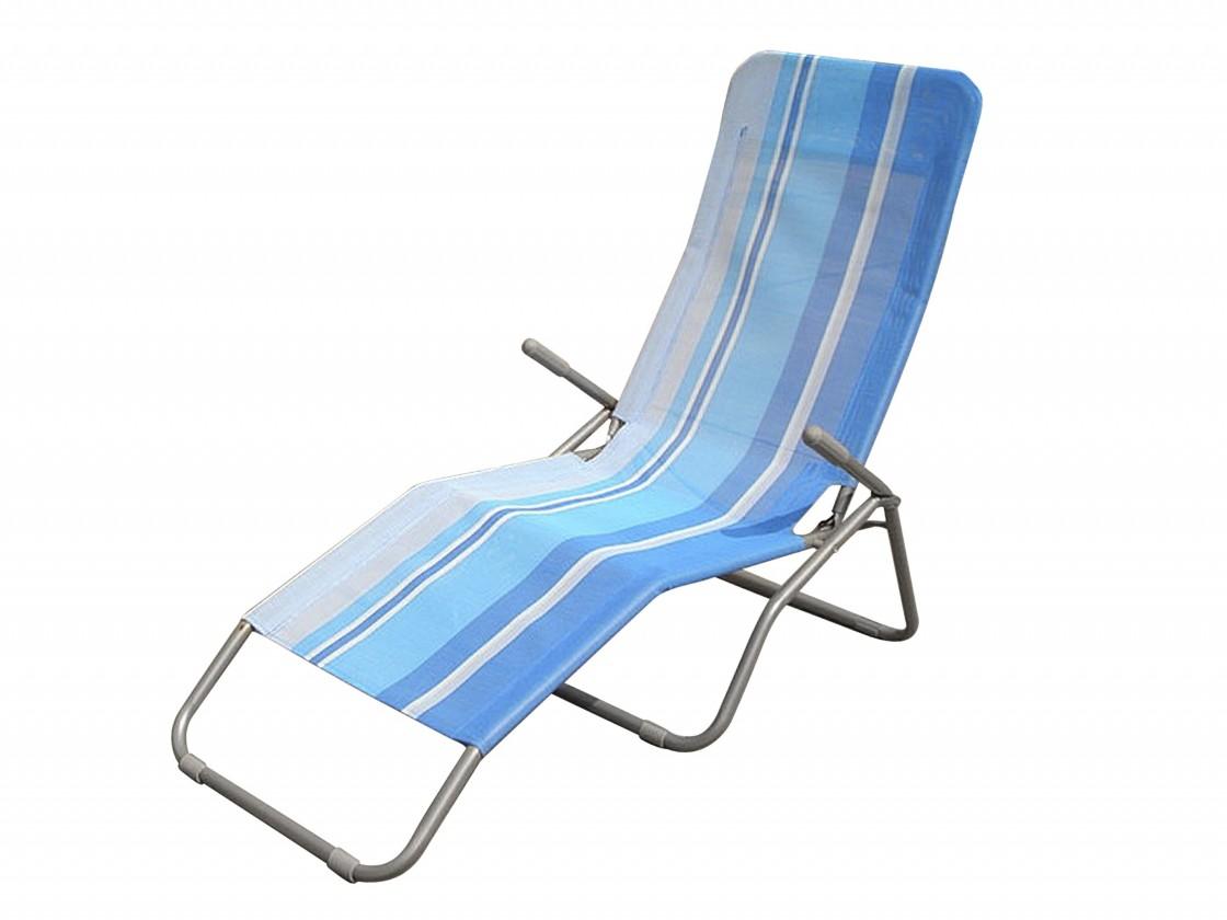 Plážové lehátko (modrý pruh)