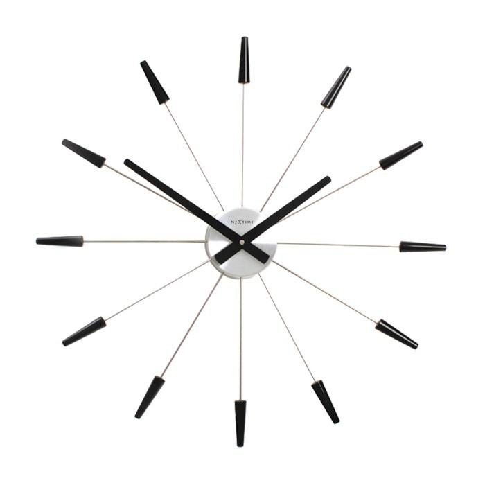 Plug Inn - hodiny, nástěnné, kulaté (nerez, černé)