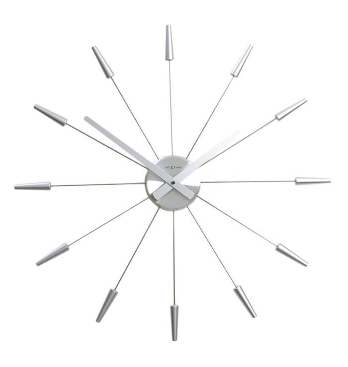 Plug Inn - hodiny, nástěnné, kulaté (nerez, stříbrné)