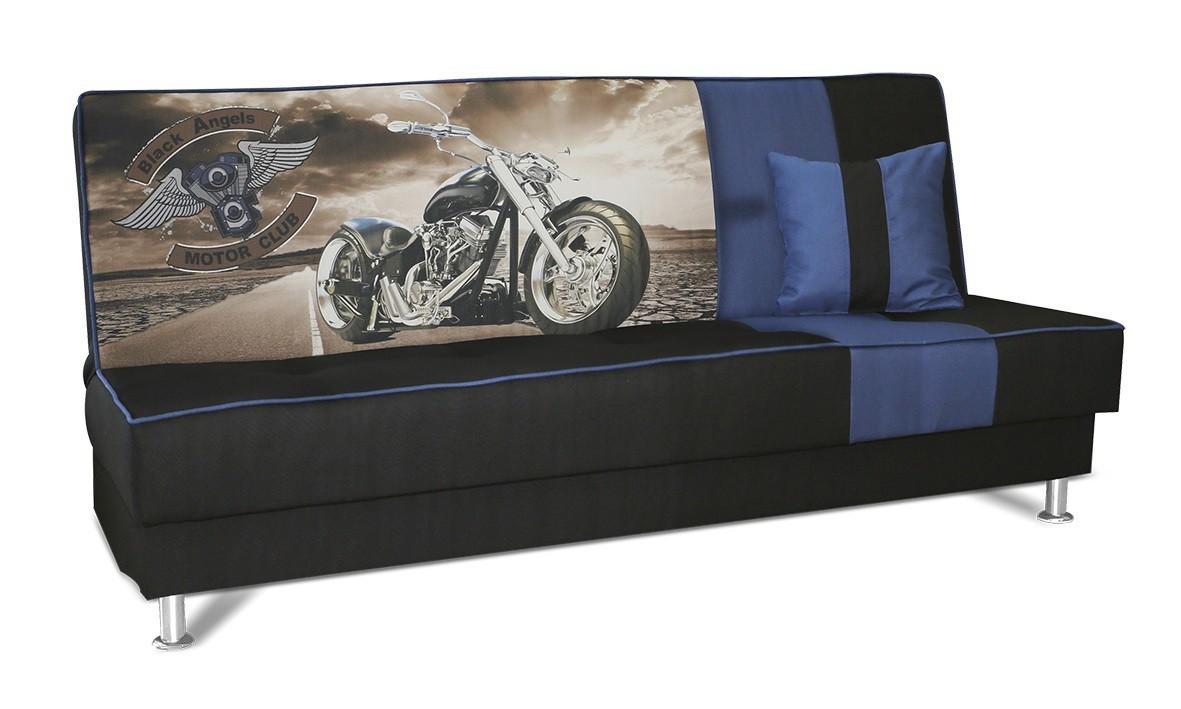 Pohovka Moto - Pohovka, rozkládací (černá, modrá)