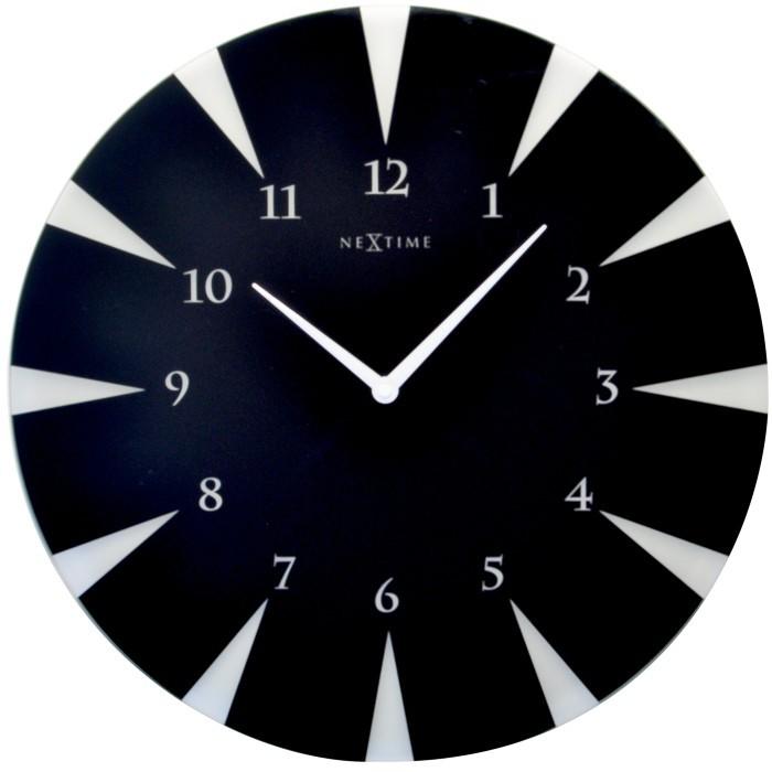 Point - hodiny, nástěnné, kulaté (sklo, černé)