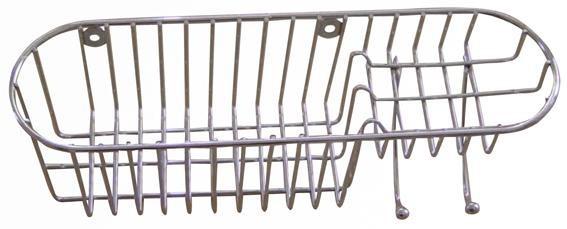 Polička sprchová s háčky, 34,8x11x11 cm (pochromovaný kov)