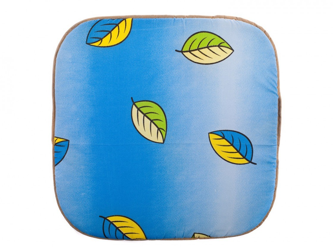 Polstr Podsedák - Zahradní listy, 37x37x1,7 cm (modrá)