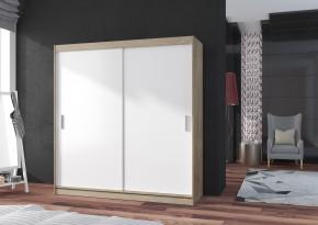 Pop - Skříň 180x215x60, posuvné dveře (bílá/dub sonoma)