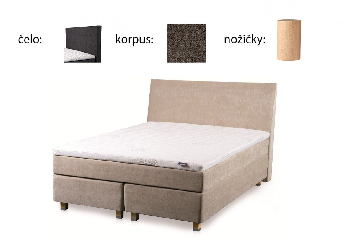 Postel Boxspring Boxbed( 160x200, HB city 125x166 - anthracite, nohy buk)