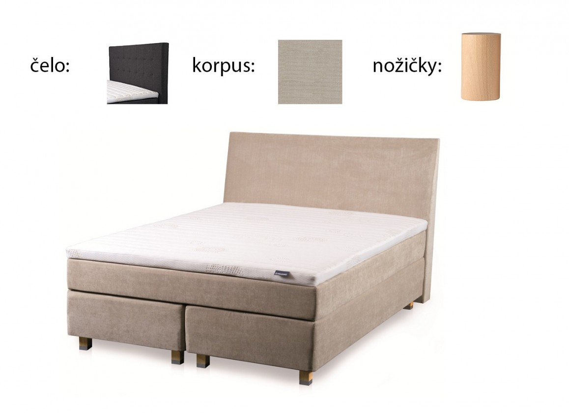 Postel Boxspring Boxbed( 160x200, HB city 125x166 - papyrus, nohy buk)