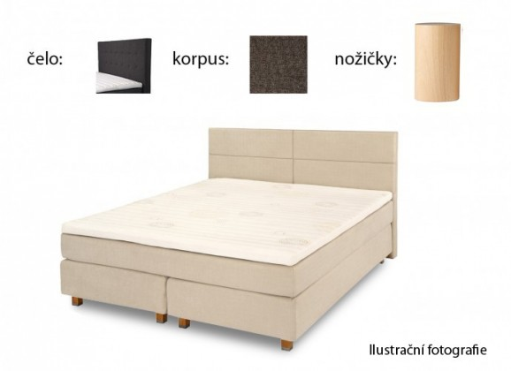 Postel Boxspring Boxbed (180x200, HB city 125x186 - anthracit, nohy buk)