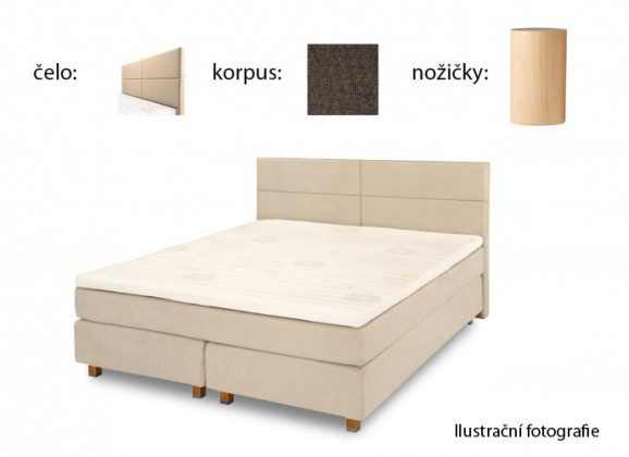 Postel Boxspring Boxbed (180x200, HB cube 114x180 - anthracite nohy buk)