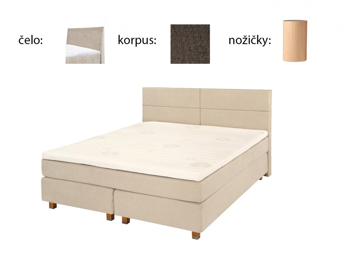 Postel Boxspring Boxbed( 180x200, HB hills 116x180 - anthracite, nohy buk)