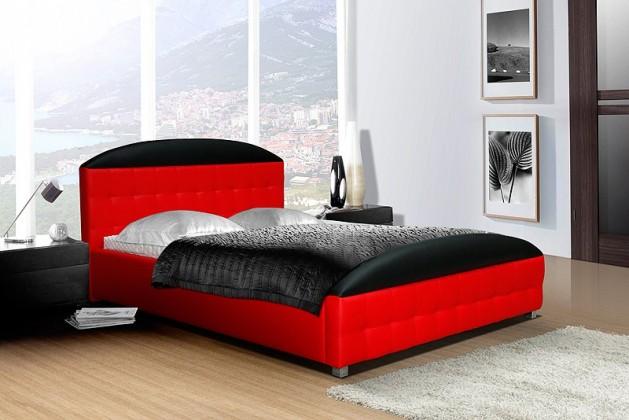 Postel II - 140x200 cm, matracový rám (černo-červená)