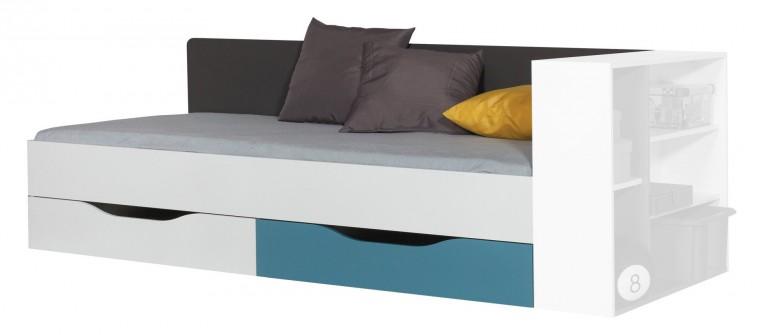 Postel Tablo - 90x200 cm, rošt (grafit/bílá lesk/atlantic)