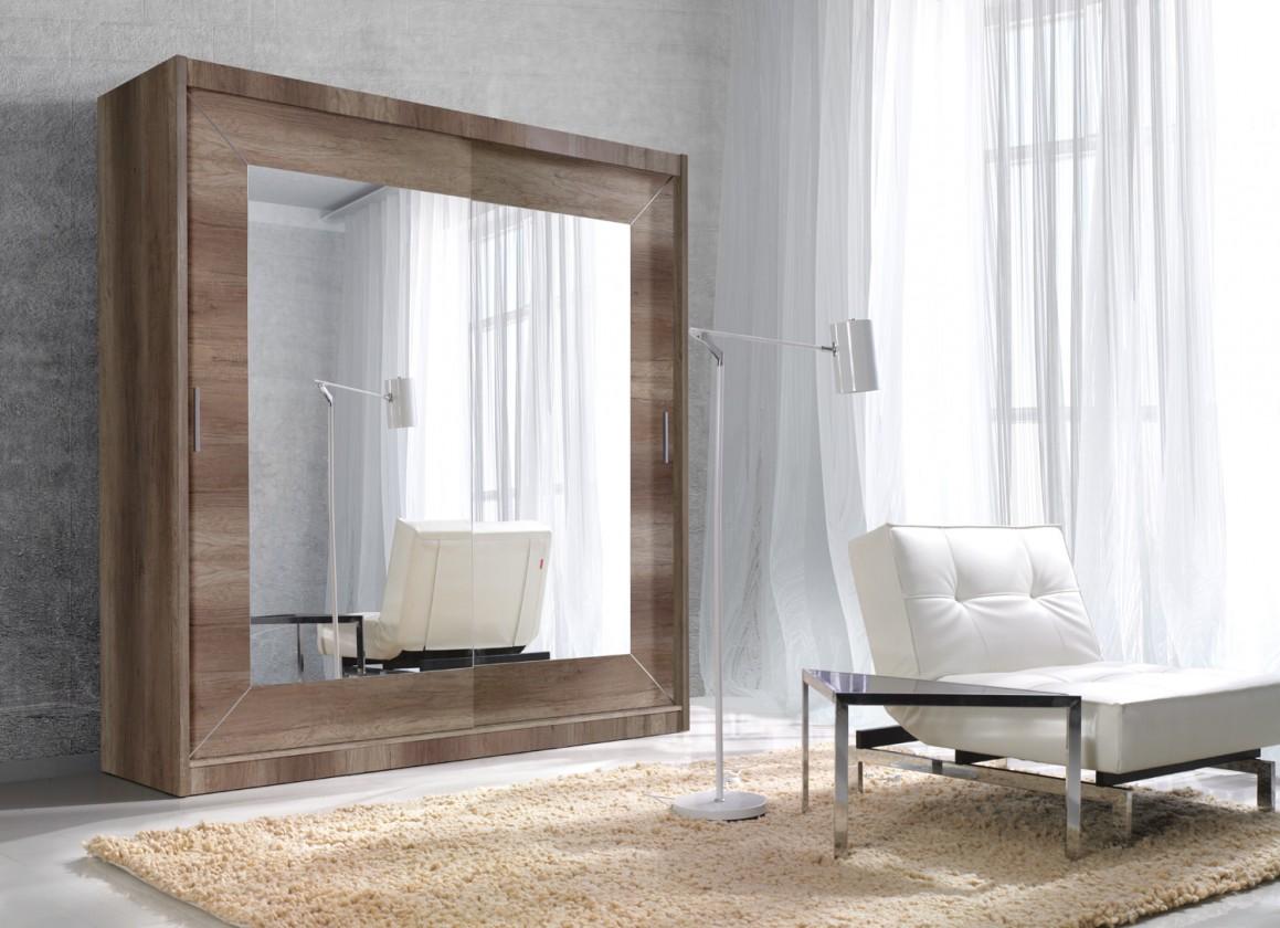 Posuvná Alfa - Skříň 200x215x60 cm, posuvné dveře, zrcadlo (dub country)