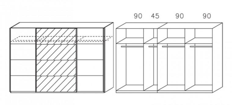 Posuvná Apulien - s posuvnými dveřmi, 3x dveře