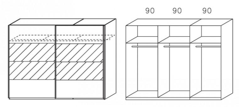 Posuvná Apulien - Skříň s posuvnými dveřmi, 2 dveře