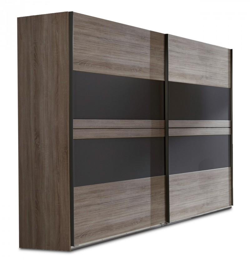 Posuvná Corfu - Šatní skříň, 2x dveře (dub montana, lava černá)