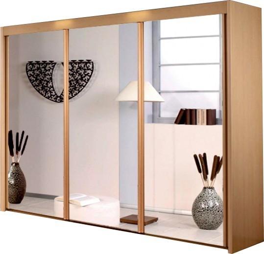 Posuvná Imperial –šatní skříň 3 zrcadlové dveře,3 pevně montované police
