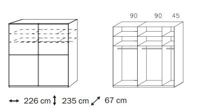 Posuvná Linea (Horský javor/černé sklo)