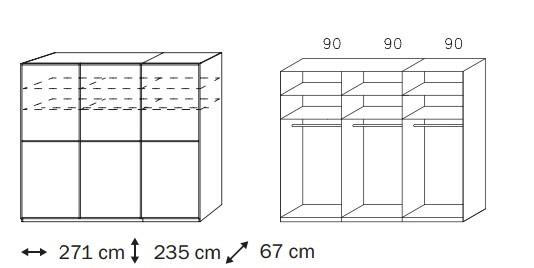 Posuvná Linea (Horský javor/krémové bílé sklo)