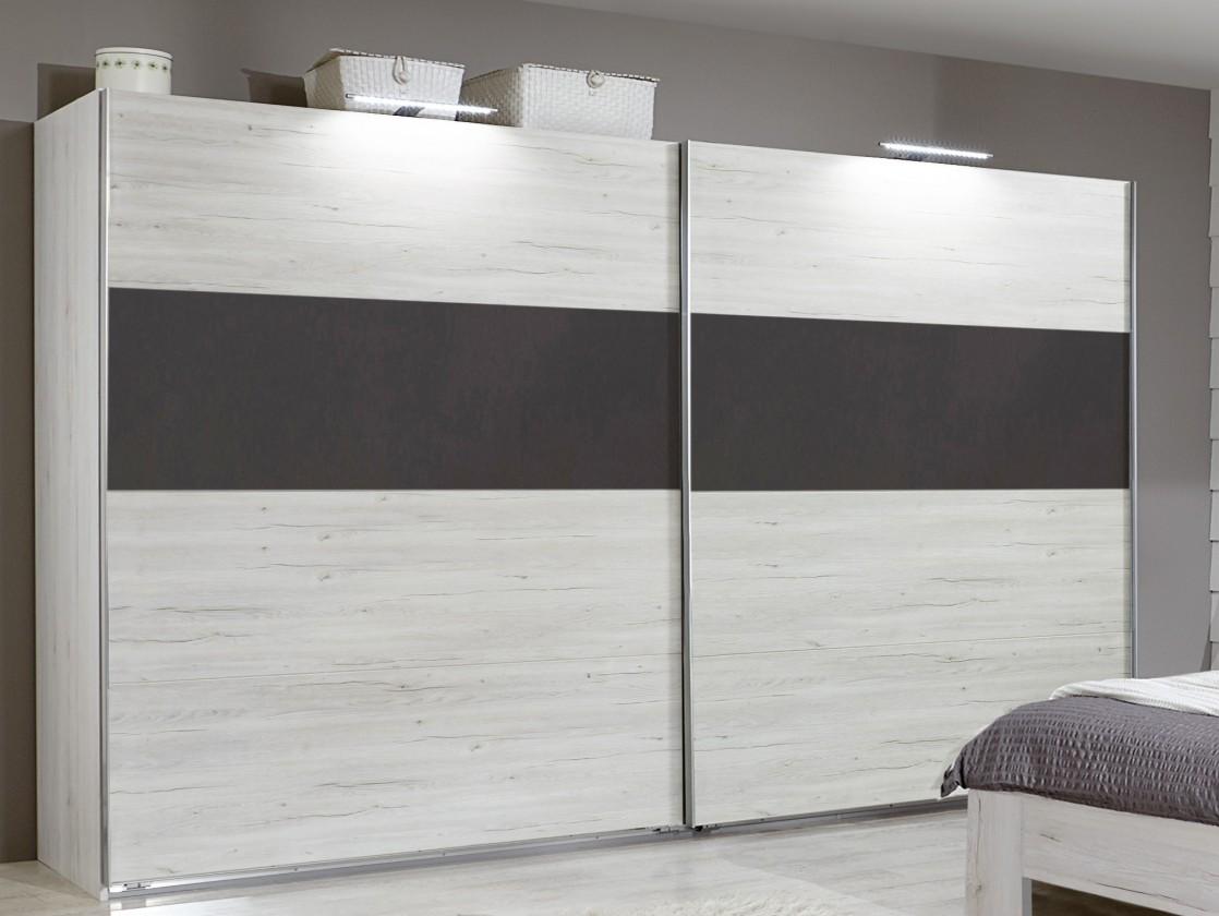Posuvná Madrid - Šatní skříň 2, 2x posuvné dveře (dub bílý/lava černá)