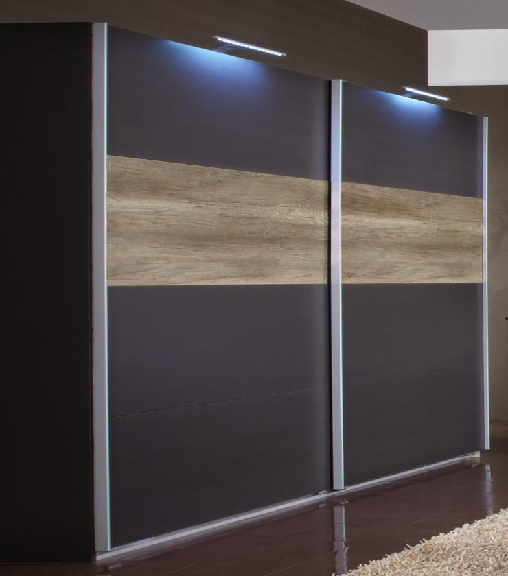 Posuvná Madrid - Šatní skříň 2, 2x posuvné dveře (lava černá/divoký dub)