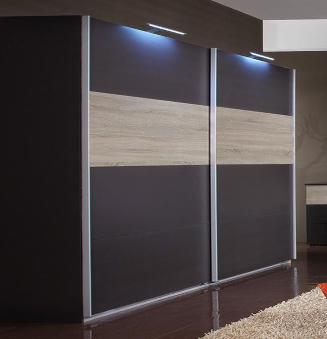 Posuvná Madrid - Šatní skříň 2, 2x posuvné dveře (lava černá/dub)