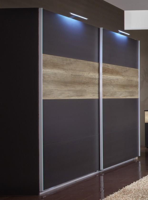 Posuvná Madrid - Šatní skříň, 2x posuvné dveře (lava černá/divoký dub)