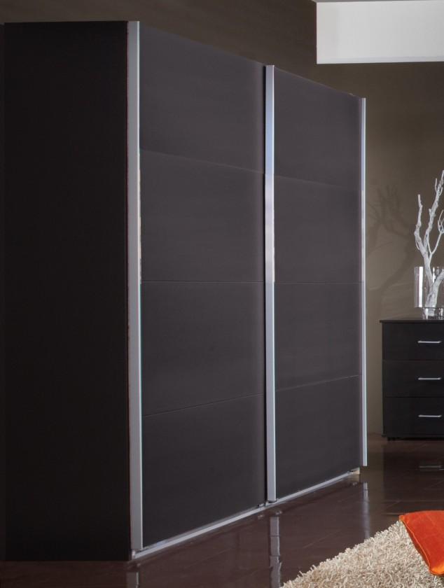 Posuvná Madrid - Šatní skříň, 2x posuvné dveře (lava černá)