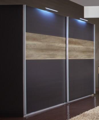 Posuvná Madrid - Šatní skříň 3, 2x posuvné dveře (lava černá/divoký dub)