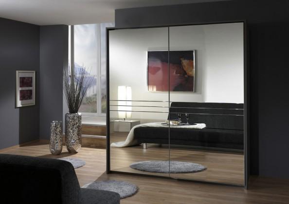 Posuvná Medina - Šatní skříň 2, 2x posuvné dveře (lava černá)