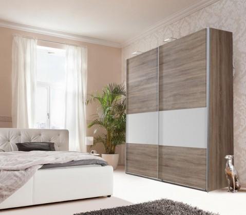 Posuvná Relax-skříň 180cm (bílé sklo, montana)