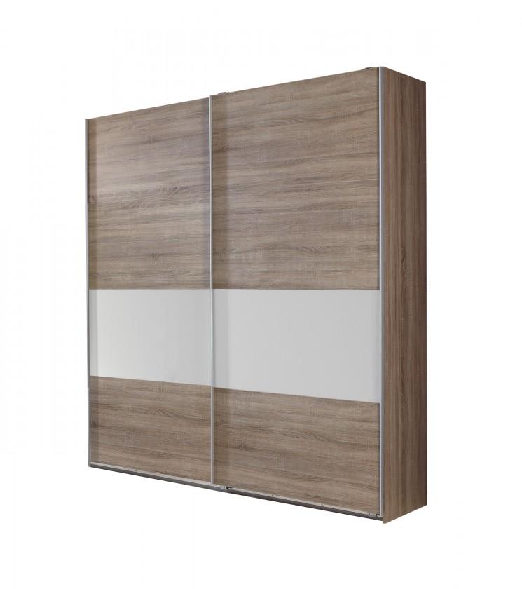 Posuvná Relax-skříň 225cm (bílé sklo, montana)
