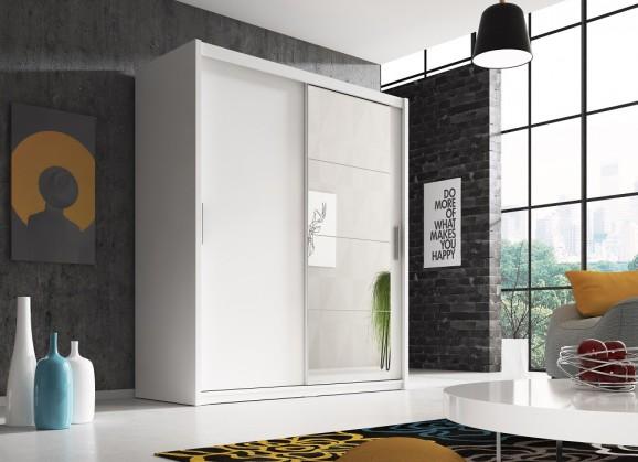 Posuvná šatní skříň argos - 180x220x58 cm (bílý mat)