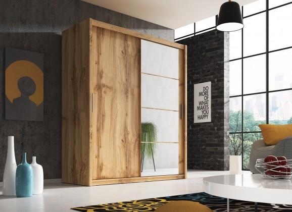 Posuvná šatní skříň argos - 180x220x58 cm (dub wotan)