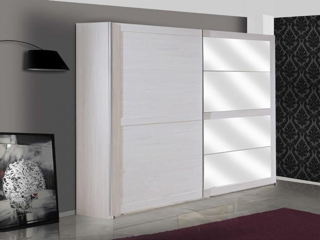 Posuvná Šatní skříň Chateau - 2x dveře, 3x police(dub bílý/lava černá)