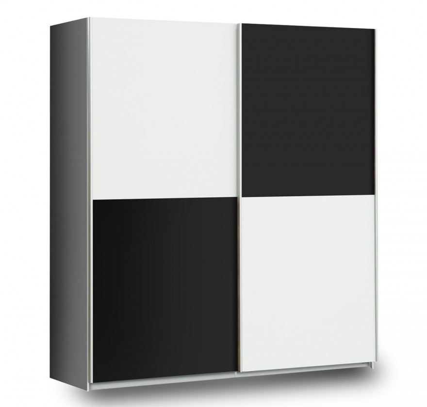 Posuvná Šatní skříň Express (bílá/černý mat/šedá)