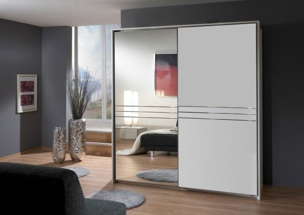 Posuvná Šatní skříň Medina - 2x posuvné dveře (alpská bílá)