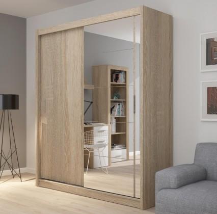 Posuvná Šatní skříň Miriam (180/216/61 cm, zrcadlo)