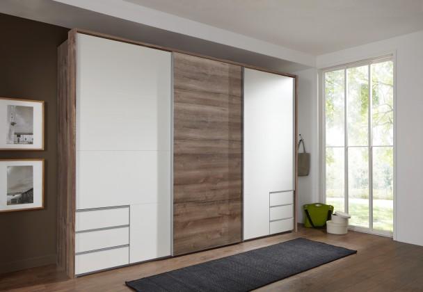 Posuvná Skříň Seattle - 270/208/64 cm, posuvné dveře (bílá/dub muddy)