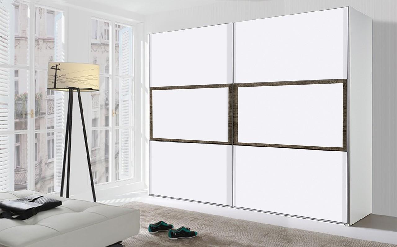 Posuvná TRIO29 - Skříň, 302x213x67 (bílá/bílá/dub tmavý)