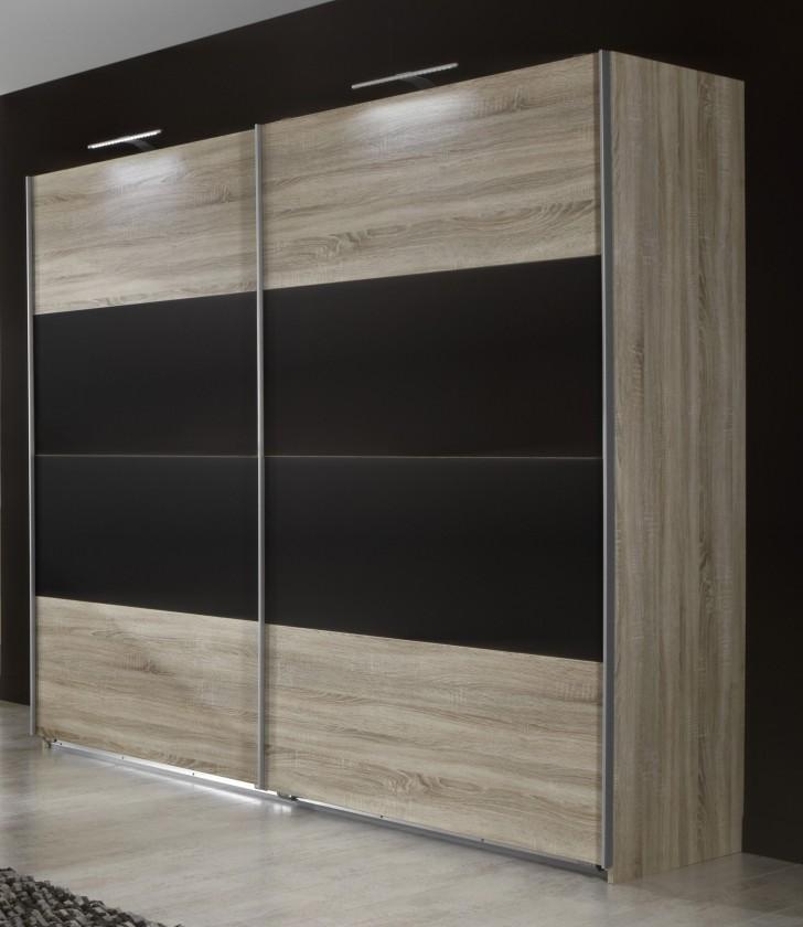 Posuvná Vicenza - Šatní skříň 3, 2x posuvné dveře (dub/lava černá)