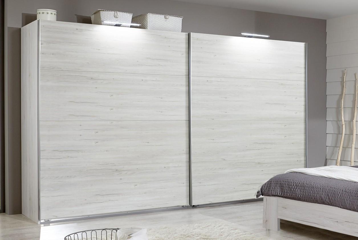 Posuvná Vicenza - Šatní skříň 4, 2x posuvné dveře (dub bílý)