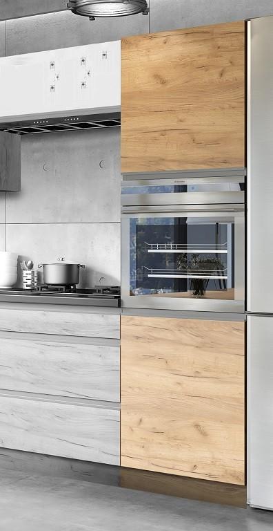Potravinové skříně a ostrůvky Vysoká skříňka na vestavnou troubu ke kuchyni Brick light