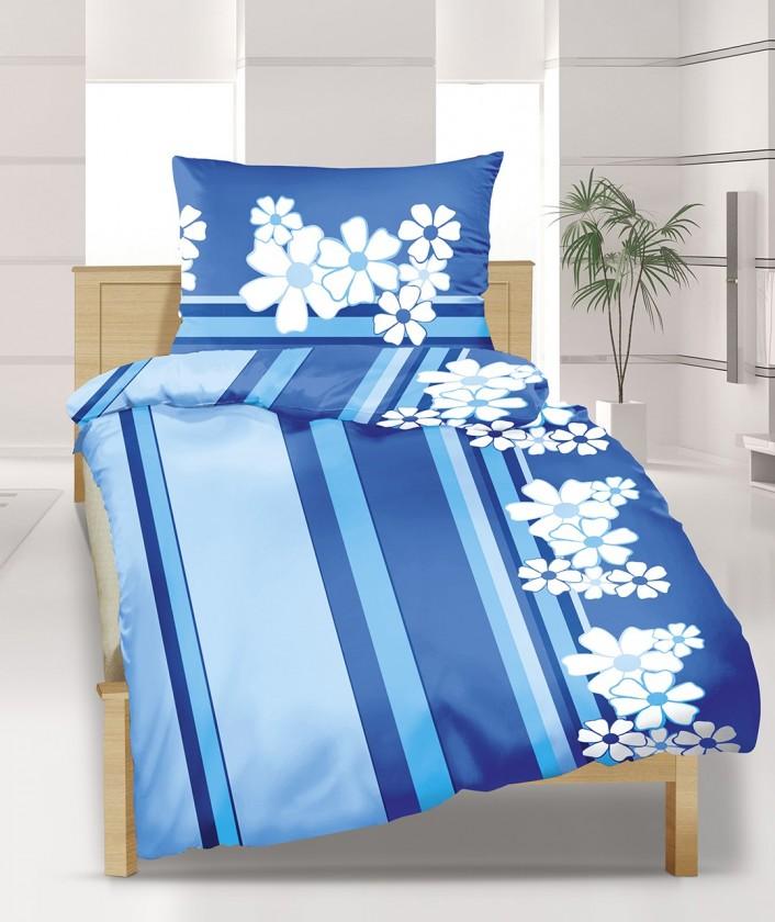 Povlečení bavlna 90/508, 140x220, 70x90 (modrý květ)
