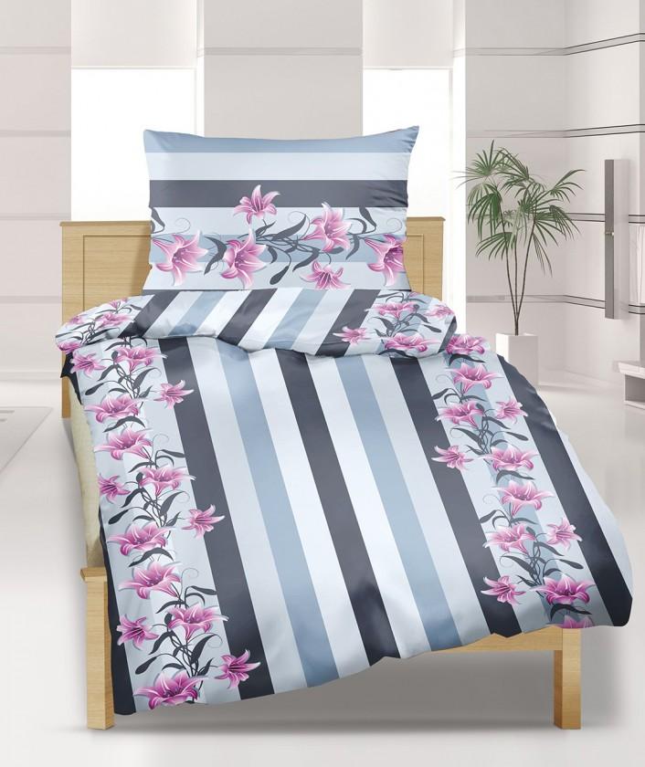 Povlečení bavlna 90/822, 140x200, 70x90 (šedo-růžová lilie)